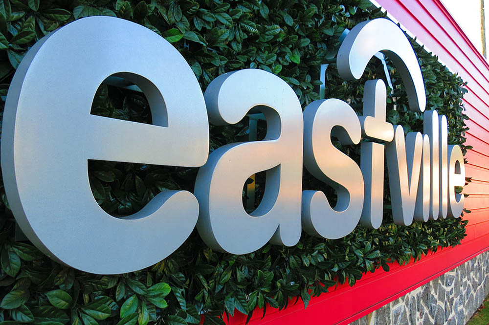 Close up photo of Eastville signage