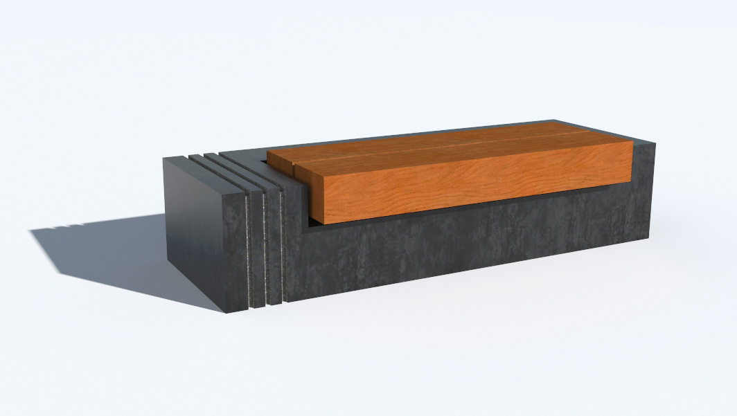 Rendered Colour 3d representation of Monolithic Granite Plaza Seats