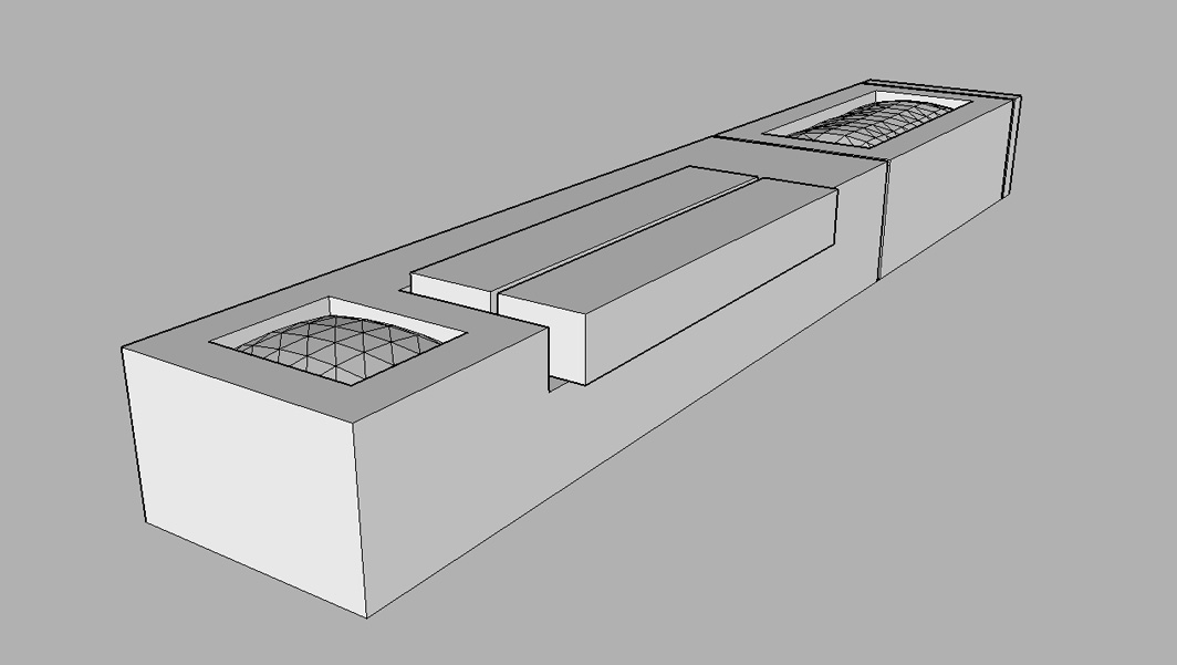Black and White 3d representation of Monolithic Granite Plaza Seats
