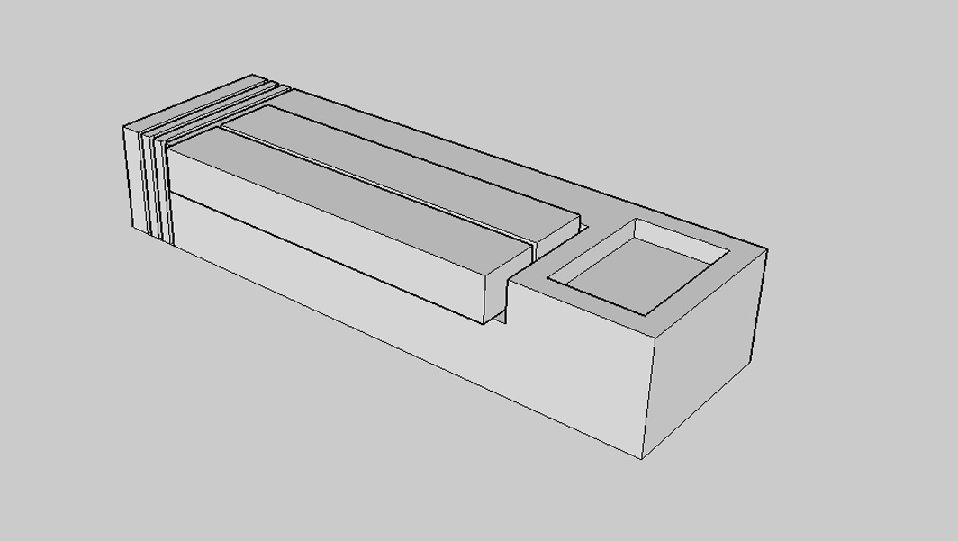 Black and White 3d representation of Monolithic Granite Plaza Seats