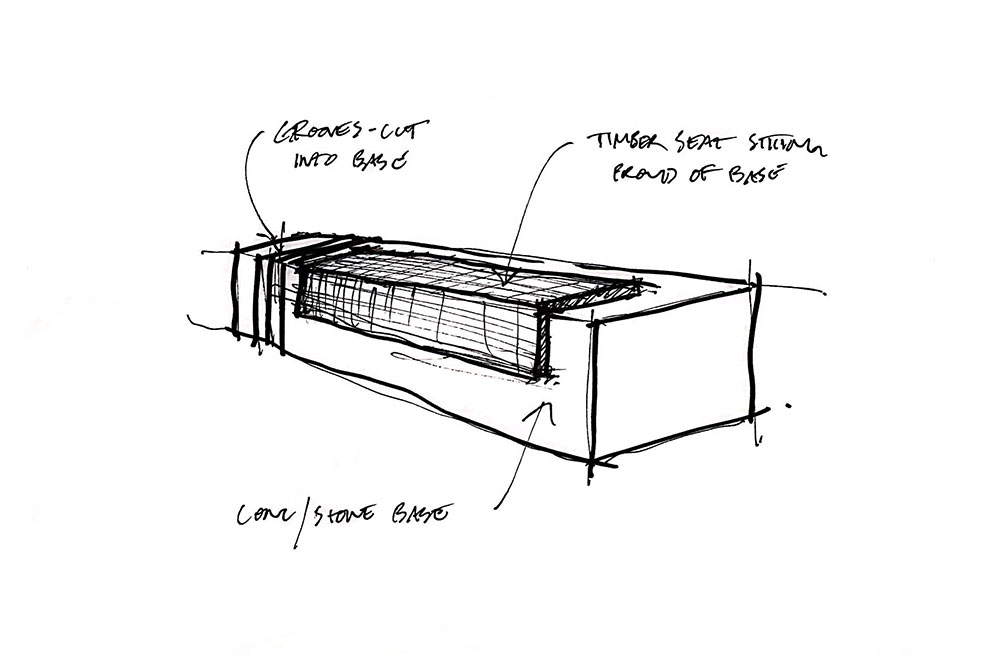 Black and White sketch of Monolithic Granite Plaza Seats