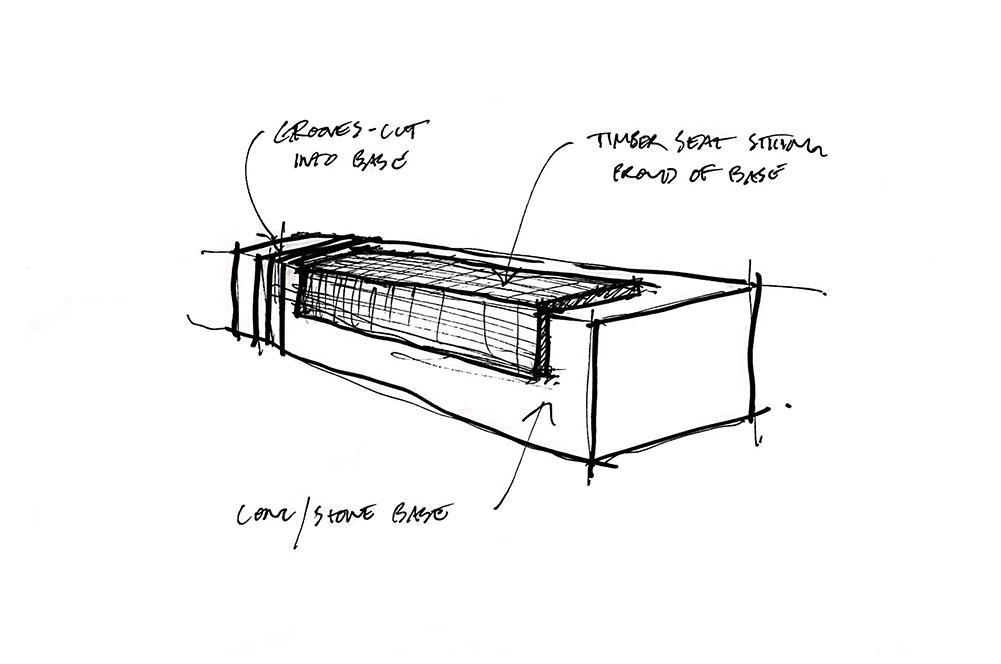 Black and White sketch of Monolithic Granite Plaza Seats