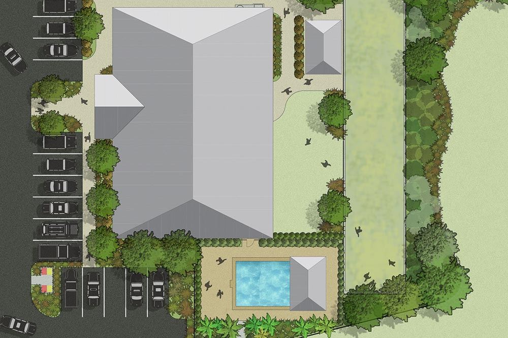 Rendered landscape concept plan of Kanwal Seniors Care Community Centre