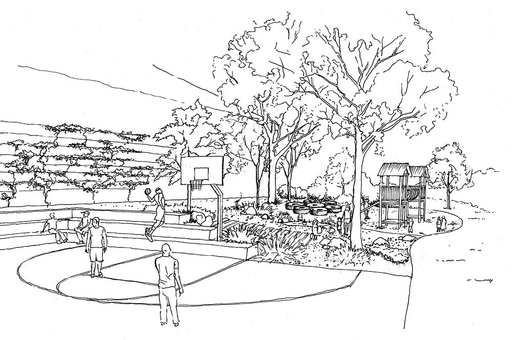 Black and white sketch of PCYC Nerang recreational area