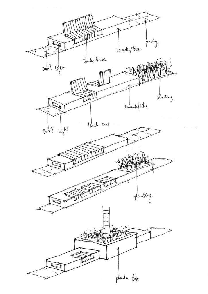 Sketch of outdoor seating
