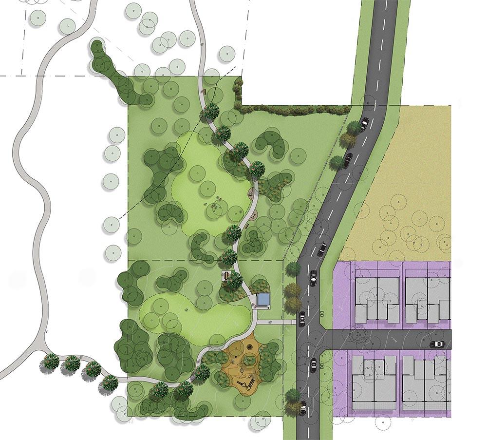Colour rendered plan of Nottingham Road Park