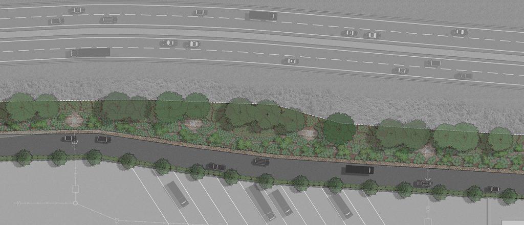 Landscape render of Lot 10 Tradecoast Central Water Sensitive Urban Design Channel